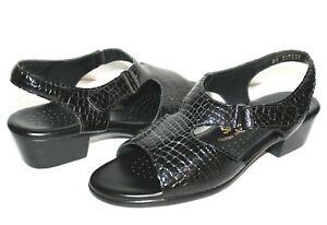 ❤️SAS Tripad Comfort Croc-Embossed Patent Leather Sandal 10 N EXCELLENT! L@@K!05