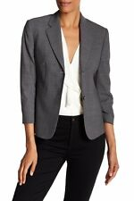 THEORY Sz 4 Linworth Gray Wool 3/4 Sleeve Continuous Blazer Jacket NWT