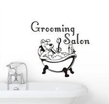 Cute Dog Taking a Shower Vinyl Sticker Creative Wall Decal Grooming Salon Decor