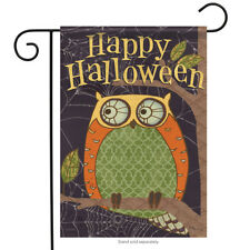 "Halloween Owl Garden Flag Decorative Double Sided Carson 13"" x 18"""