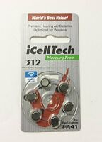 iCell Tech Size 312 Hearing Aid Batteries (60 cells) SHIPS FROM USA