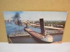 Freighter Ship Fox River Green Bay Wi Vintage Postcard  T*