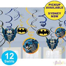 BATMAN PARTY SUPPLIES 12 HANGING SWIRLS SUPERHERO BIRTHDAY DECORATIONS