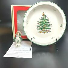 """Spode Christmas Tree 10"""" Pie Baking Plate & Pie Bird Excellent Condition"""