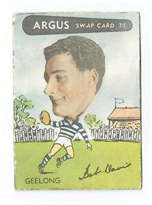 ARGUS newspaper 1954 VFL footy card #71 Bobby Davis GC GEELONG CATS