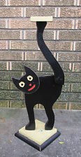 Antique Halloween Folk Art Primitive Painted Wood Black Cat Stand Decoration
