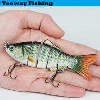 "4"" Multi Jointed Fishing Lure Bait Bass Crank Minnow Swimbait Life Like Pike"
