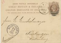 "GB 1879 QV 1 d brown VF postcard w. barred Duplex-cancel ""LONDON / 98"" NÜRTINGEN"
