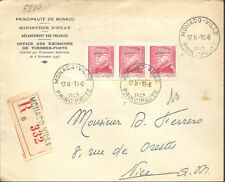 MONACO -- Enveloppe O.E.T.P. - bande de 3 timbres 1 F.50 rouge s.jaune Louis II