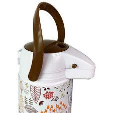 1,9 L Pumpkanne Airpot Metall Kaffeekanne Isolierkanne Glaseinsatz Weiß Blume