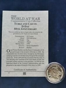 999/1000 Silver Commem 20 Crowns Coin D-Day Turks & Caicos with COA