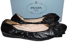 Prada Scrunch Ballet Flats Ballerina Bow Shoe 38 Black Leather Logo