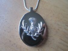 STAINLESS STEEL SCOTTISH THISTLE URN NECKLACE - MOURNING, ASHES, LOCK OF HAIR