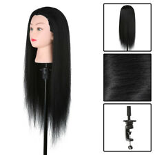30'' 100% Real Hair Hairdressing Practice Training Head Mannequin Doll + Clamp