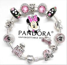 Authentic Pandora Bracelet Silver Bangle Minnie Mouse Pink Disney European Charm