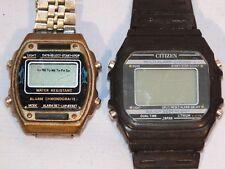Lot 2 montres alarm chronographe - cristaux liquides - Citizen