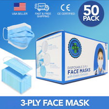 3-Ply Face Mask - 50 Pcs - Disposable, Breathable, Hypoallergenic - Usa Seller!