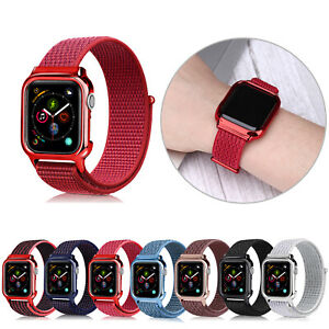40/44mm Nylon Sport Loop+PC Case iWatch Band Strap for Apple Watch Series 6 5 4