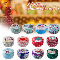 8/12X Round Candle Tins Christmas Xmas Tin For Wax Soy Making Container Jar Gift