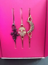$35 Betsey Johnson Two Tone 3 Piece Owl Star & Moon  Wire Bangle Bracelet BN1 C