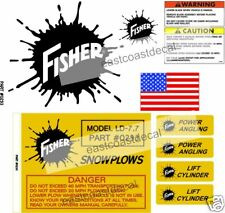 9 pc Fisher Blade Snow Plow Decals NEW Replacement Kit + Warning Angles Flag FK1