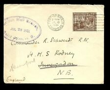 TRINIDAD MIS SENT to NEW BRUNSWICK 1931 to SHIP HMS RODNEY SCOTLAND