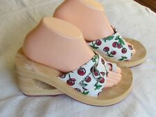 NEW Skechers Cali Ladies Red Cherry White Wedge Mules Sandals Size 6 EU 39