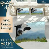 Cows Steppe Animals Farm Blue Duvet Cover Set with 2x Matching Pillowcases