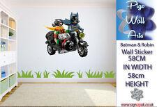 Lego Wall Sticker Batman and Robin Kids Bedroom wall art Children's Decal Mural.