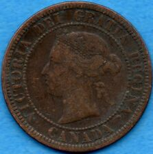 Canada 1876 H 1 Cent One Large Cent Coin - Very Fine (corrosion)