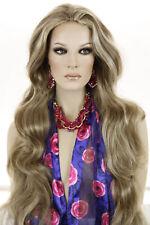 Light Ash Brown Highlight Golden Blonde Blonde Long Wavy Straight Wigs