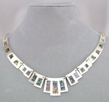 Fashion Jewelry Necklace Set Alpaca Silver Abalone Egyptian Inspired NEW