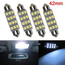 4Pcs 42MM 3528 12SMD Festoon Dome Map Interior LED Light Lamp Bulb White