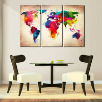 3Pcs Abtract World Map Canvas Print Oil Painting Wall Art Picture Home Decor