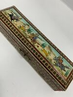 Trinket Box Wood Inlay Mosaic Hand-Painted Hunting Scene India Antique  8""