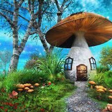 8x8Ft Vinyl Forest Mushroom House Backdrop Decoration Studio Photography