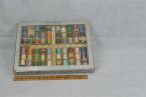 """antique Sewing Thread store counter top display box w/thread wood spools """"Star"""""""
