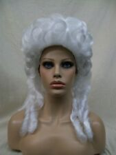 White Baroque Wig Marie Antoinette Colonial Victorian Mrs Santa Claus Snow Queen