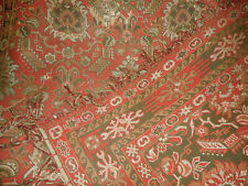 Antique 19thc French Wool Cotton Kilim Fabric Lg. Table Rug ~ Red Brown ~ 1870