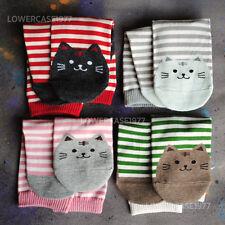 Cute Stripey cats socks, 4 pairs - SIZE 4-6 UK  -  polka, stripey, cute, kawaaii