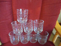 VINTAGE  Libbey Fish Scale or Bubble style On The Rocks Glasses Lot of 8