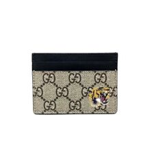 GUCCI GG Supreme Taiga Card Holder Card Case Beige x Black Canvas 451277