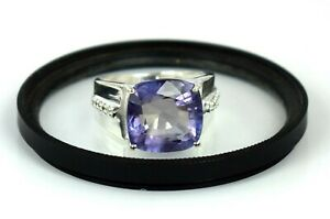 925 Sterling Silver 11.89 Ct Natural Russian Alexandrite Ring With Accents