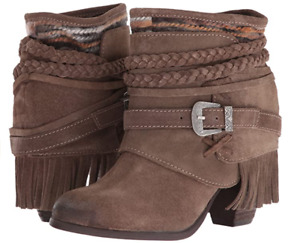 Naughty Monkey Taupe Brown Saddle Baggin Bootie Boots NEW Boxed 6.5
