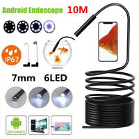 Endoscope 6 LED Snake Borescope USB Inspection Camera 10M Cable For Android