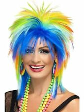 Rainbow Punk Wig 80's Fancy Dress Rock Accessory Rave Festival Hen Stag Mullet