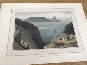 Antique Print The Worms Head In Tenby Bay.  South. Wales Wm  Daniell Orig Colour