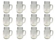 Set of 12 Mason Glass Drinking Jars with Handles without Lids 20oz 1 pint 568ml