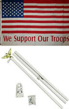 3x5 Usa American We Support Our Troops Flag White Pole Kit Set 3'x5'