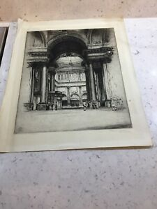 Within the Manchester Royal Exchange C1922 Leonard Brewer Signed Etching Listed